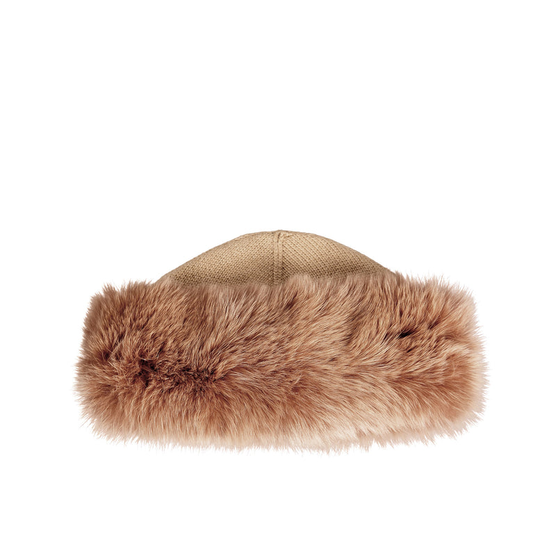 Cashmere and Fox Fur Hat - Caramel