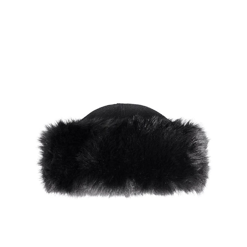 Cashmere and Fox Fur Hat - Black