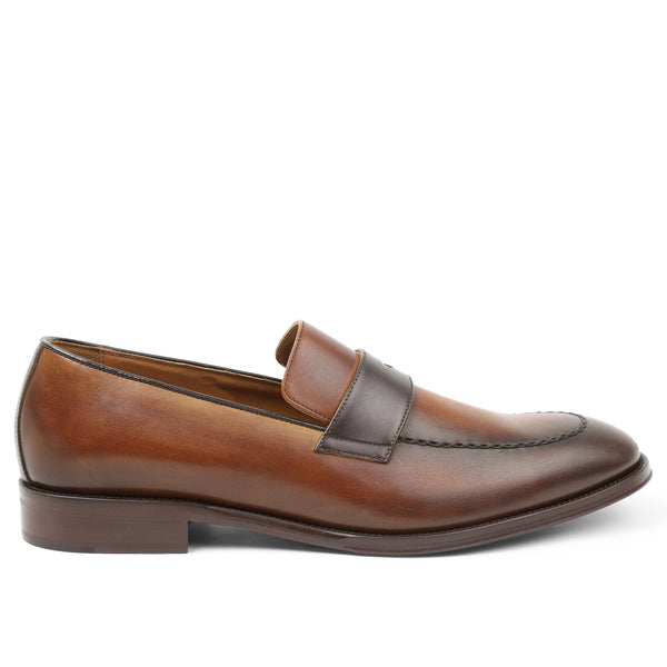 Arezzo Two-Tone Penny Loafer - Cognac/Dark Brown