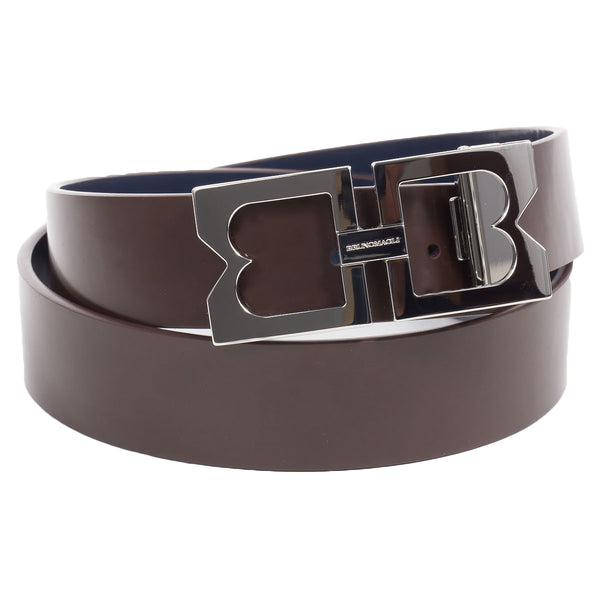 Leather Men's Belt with Double B Buckle
