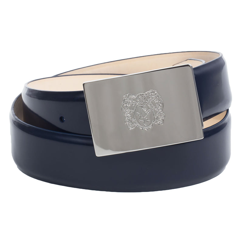 Leather Men's Belt with Signature Crest