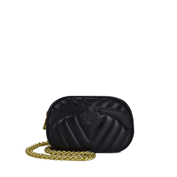 Quilted Belt Bag with Chain - Black - Online Exclusive
