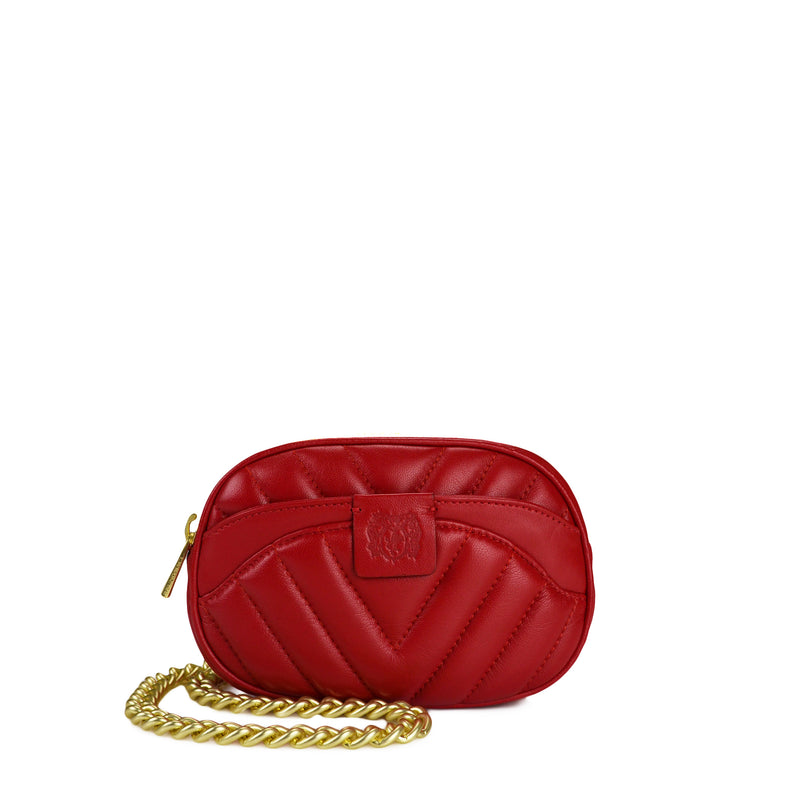 Quilted Belt Bag with Chain - Red - Online Exclusive - FINAL SALE