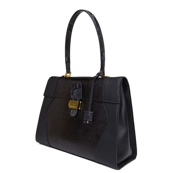 Equestrian Lock Flap Tote Satchel - Soho Exclusive