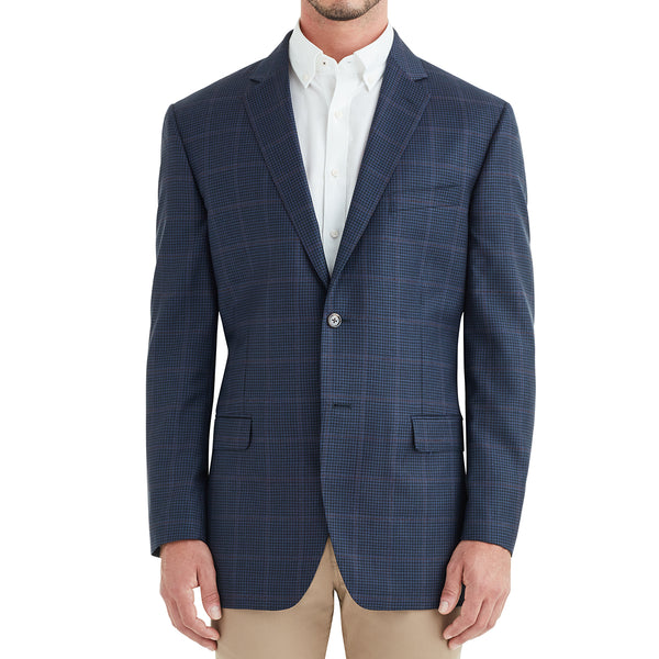 Bassi Window Check Plaid Two-Button Sportcoat - Navy - Soho Exclusive