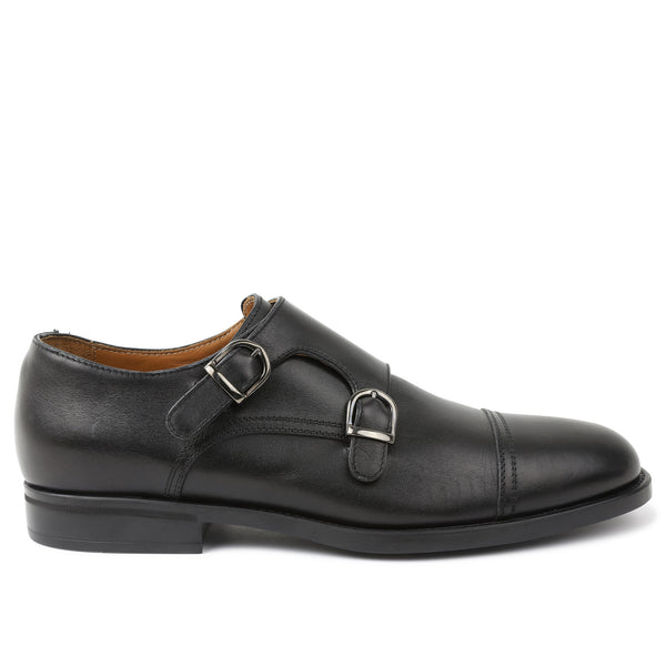 Barone Monk-Strap Shoe - Black
