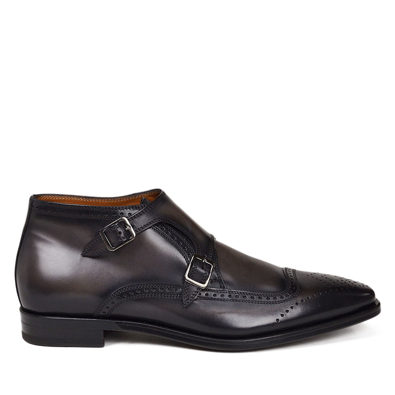 Carlo Monk-Strap Ankle Boot - Dark Grey Leather