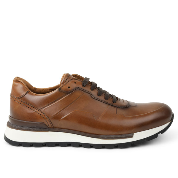 Davio Hand-Burnished Leather Sneaker - Cognac Leather