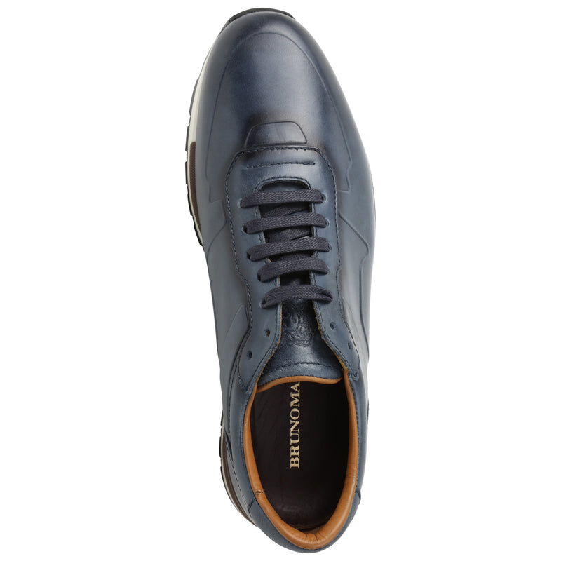 Davio Hand-Burnished Leather Sneaker - Navy Leather