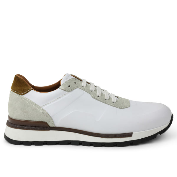 Davio Hand-Burnished Leather Sneaker - White