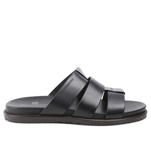 Empoli Leather Slide Sandal - Black