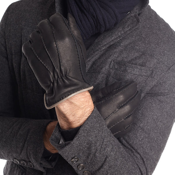 Lombardy Leather Men's Winter Gloves - Black