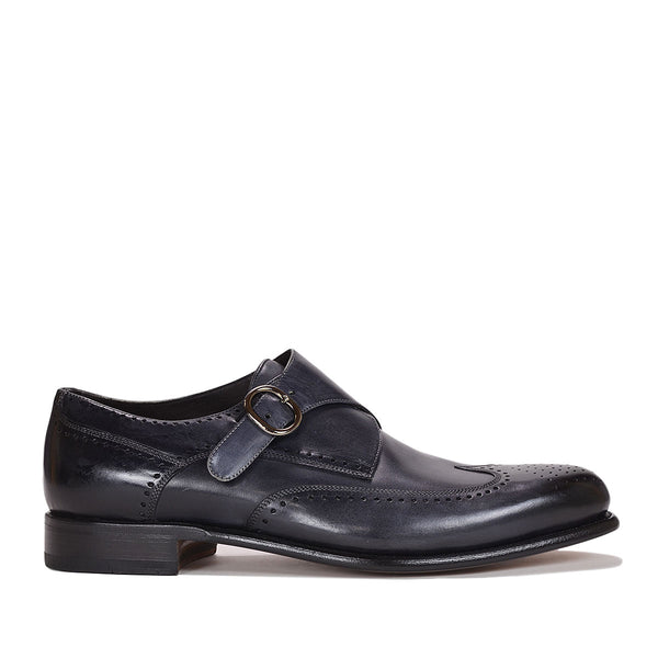 Collezione Adalardo Monk-Strap - Dark Grey Leather