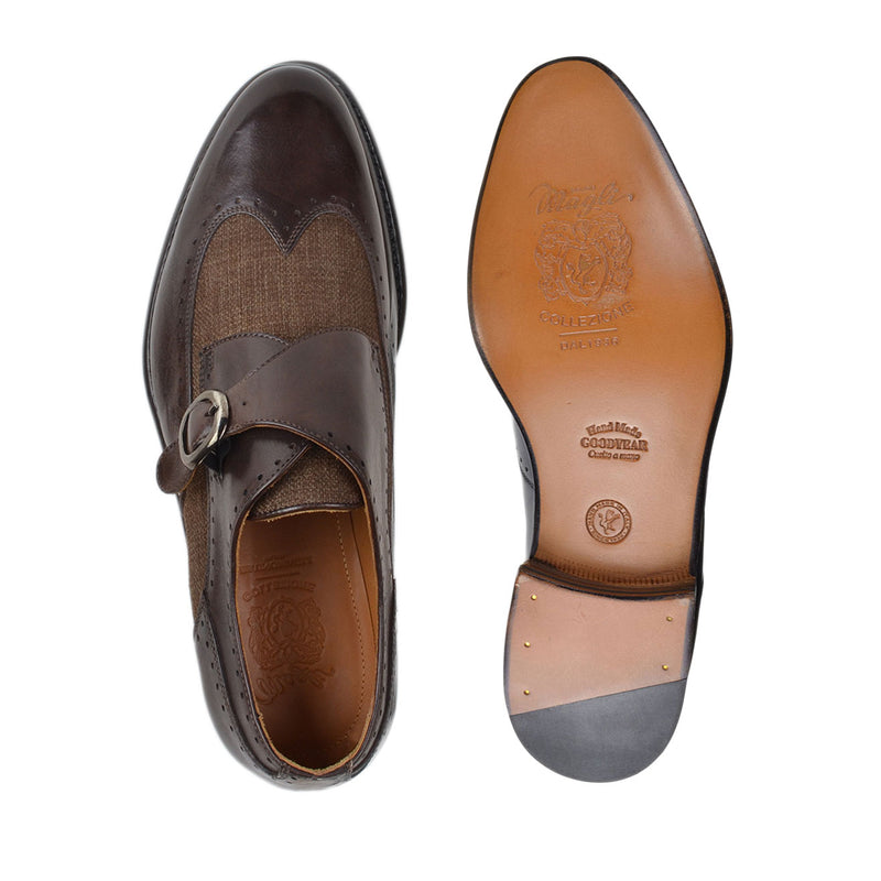 Collezione Adalardo Monk-Strap - Dark Brown Leather/Linen - FINAL SALE