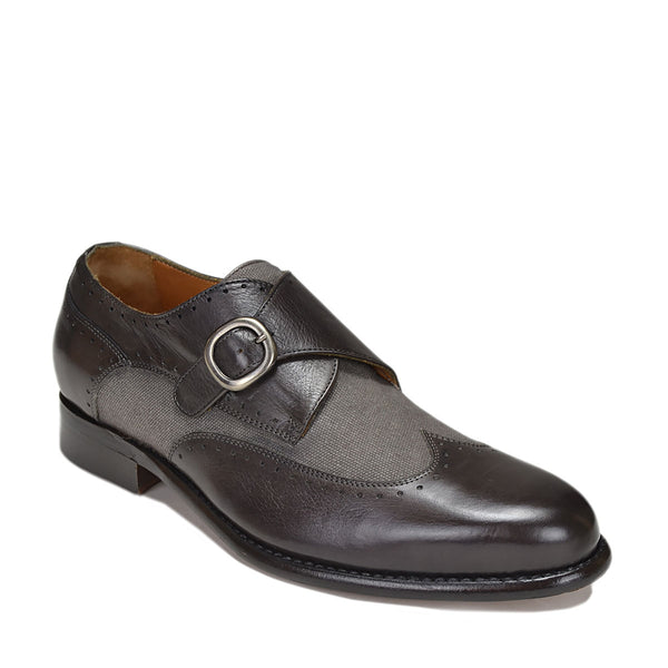 Collezione Adalardo Monk-Strap - Dark Grey Leather/Linen