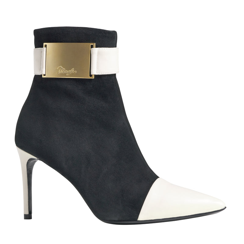 Alessia Suede/Nappa Ankle Boot - Black/Bone