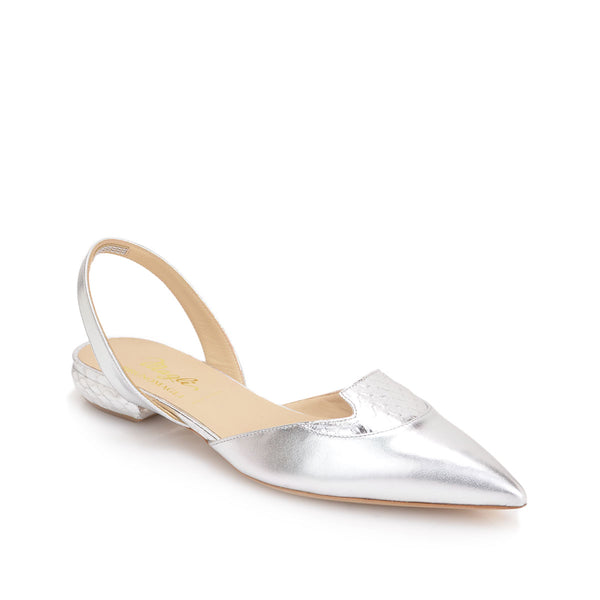 Aleta Leather/Snake Flat, 1-inch - Silver Leather/Snake