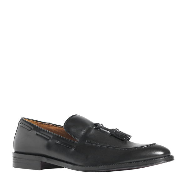 Alfio Leather Tassel Loafer - Black