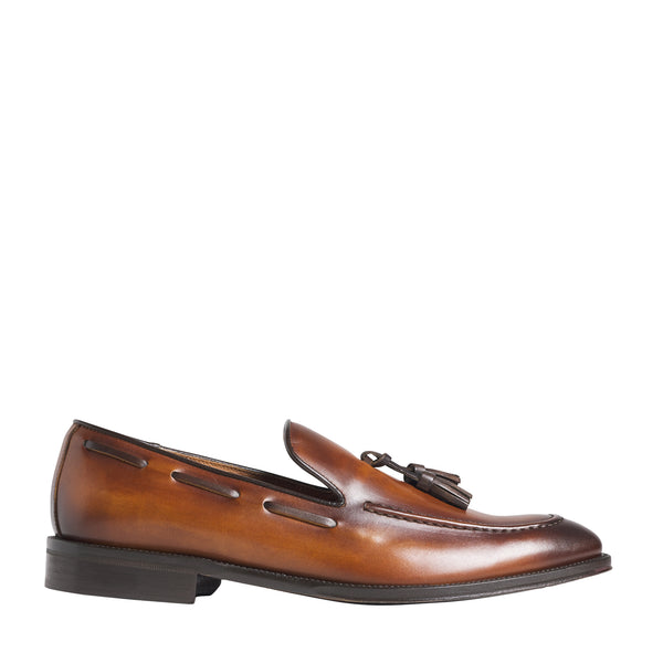 Alfio Leather Tassel Loafer - Cognac