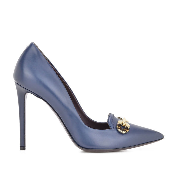Alina Leather Pump, 4-Inch - Ink - FINAL SALE