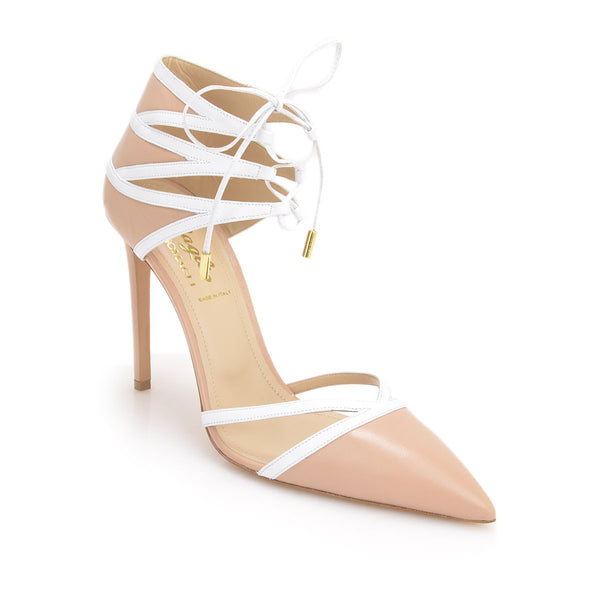 Alissa Pump, 4-inch - Nude/White Leather