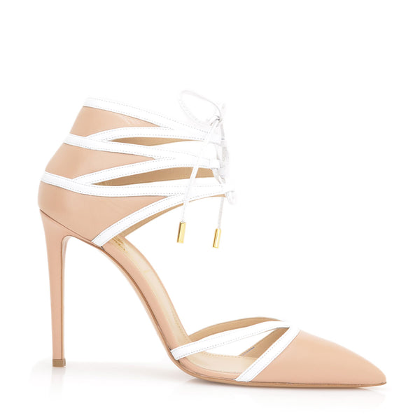 Alissa Pump, 4-inch - Nude/White Leather - FINAL SALE