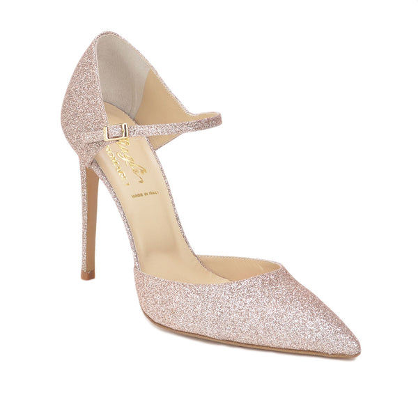 Amalia Glitter Pump, 4-inch - Rose Gold Glitter Leather - FINAL SALE