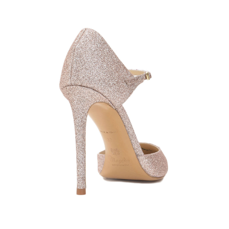 Amalia Glitter Pump, 4-inch - Rose Gold Glitter Leather