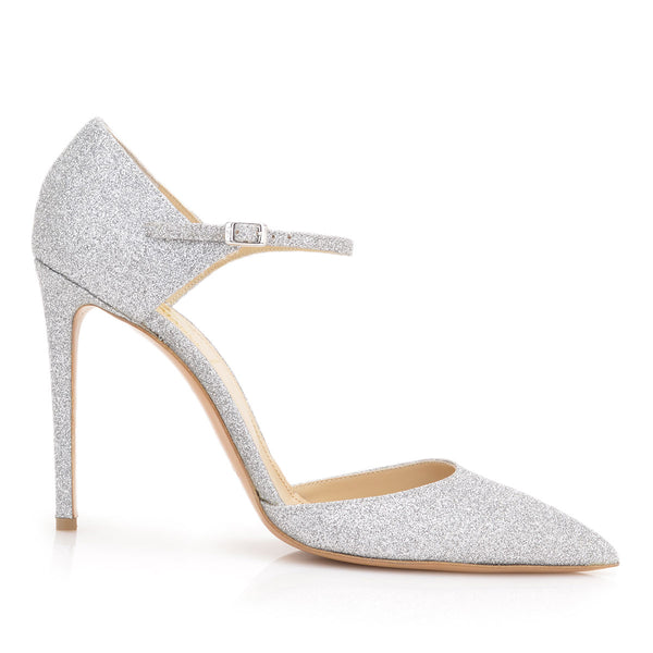 Amalia Glitter Pump, 4-inch - Silver Glitter Leather