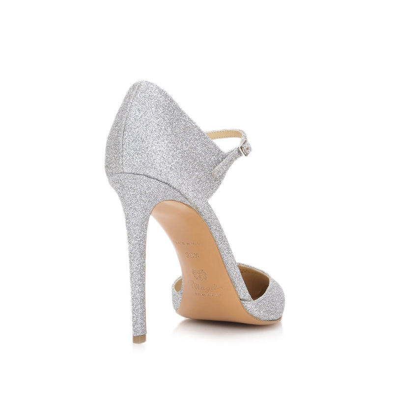 Amalia Glitter Pump, 4-inch - Silver Glitter Leather - FINAL SALE