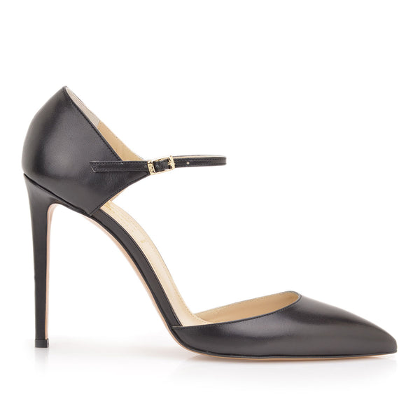 Amalia Pump, 4-inch - Black Leather