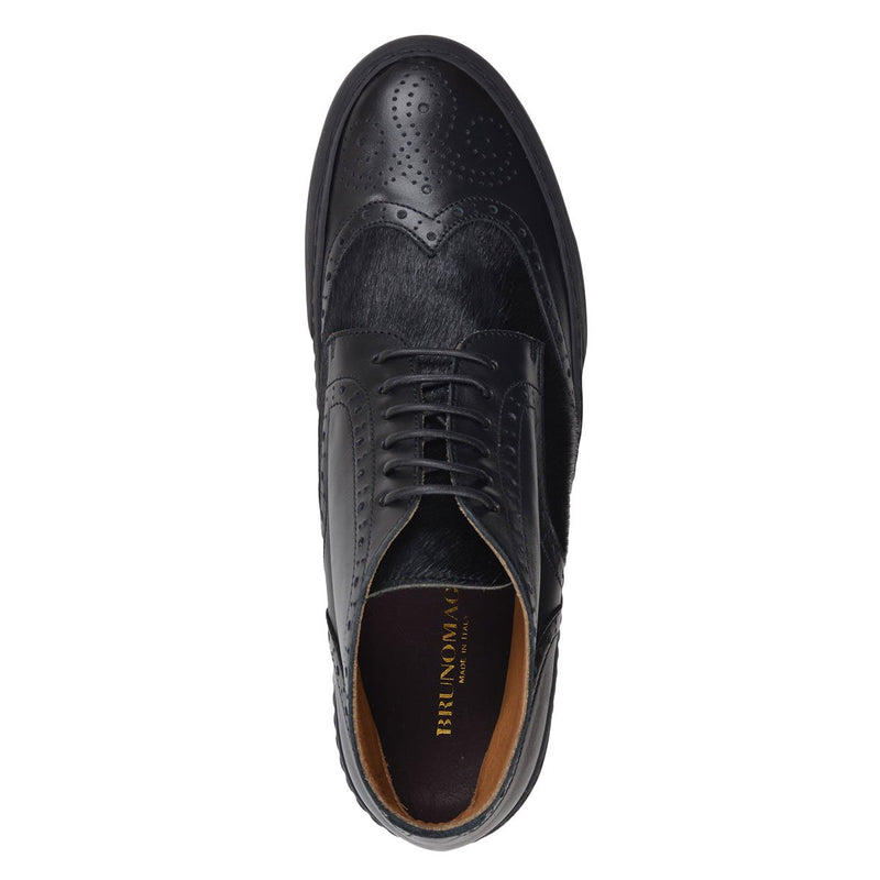 Angelo Calf/Calf Hair Sneaker - FINAL SALE - Black Leather/Black Calf Hair