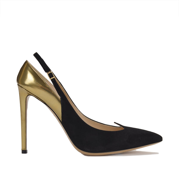 "Anna Women's Slingback 4"" Heels - Black/Gold - FINAL SALE"