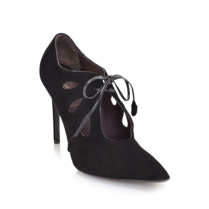 Anna Pump, 4-Inch - Black Suede/Black Patent Leather
