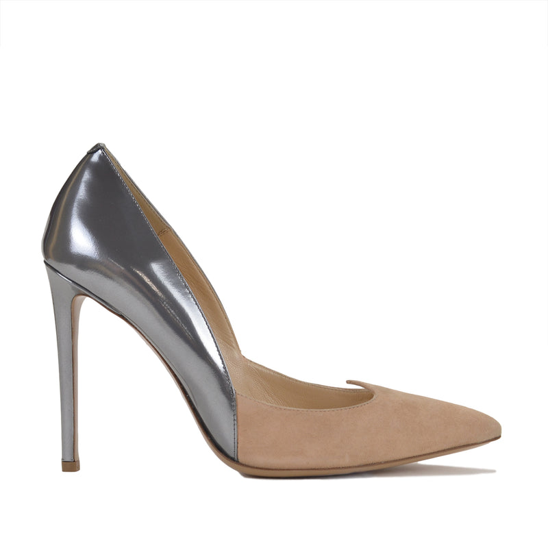 Antonia Suede/Metallic Pump, 4-inch - FINAL SALE - Nude Suede/Silver Metallic Leather