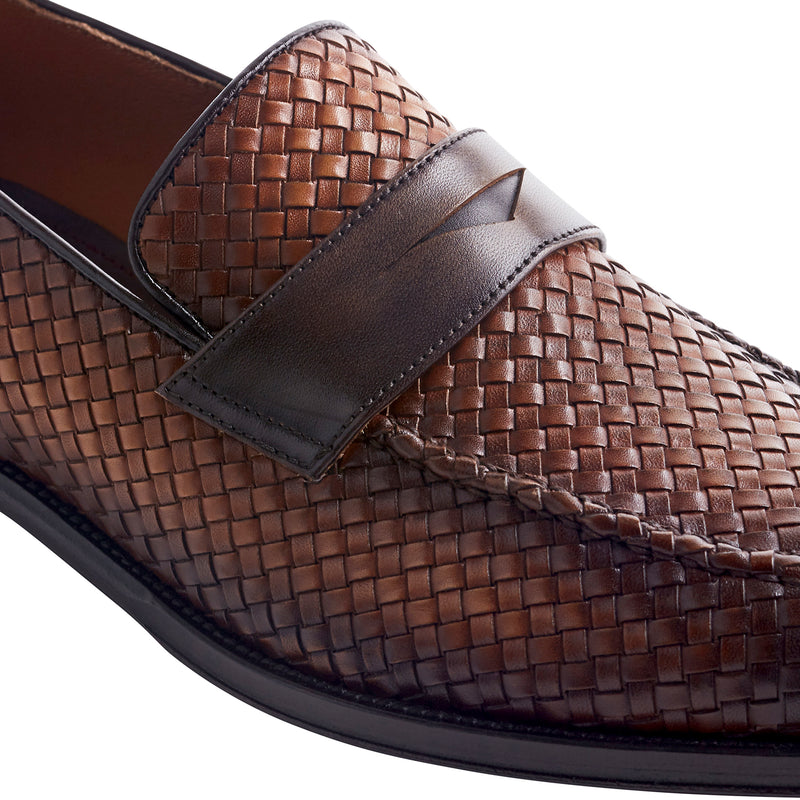 Arezzo Woven Leather Penny Loafer - Cognac/Dark Brown