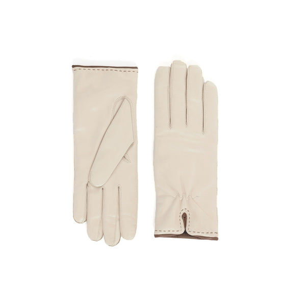 Aosta Women's  Leather Winter Gloves - Cream