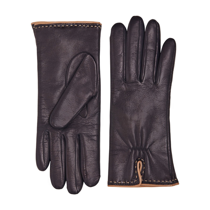 Aosta Women's Leather Winter Gloves - Blue with Turtledove