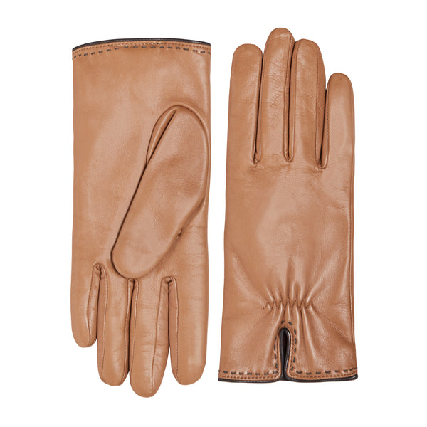 Aosta Women's  Leather Winter Gloves - Turtledove with Grey