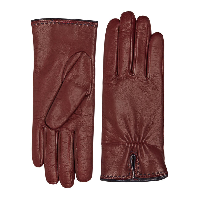 Aosta Women's  Leather Winter Gloves - Wine with Navy