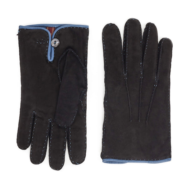 Lazio Suede Men's Winter Gloves - Black/Blue