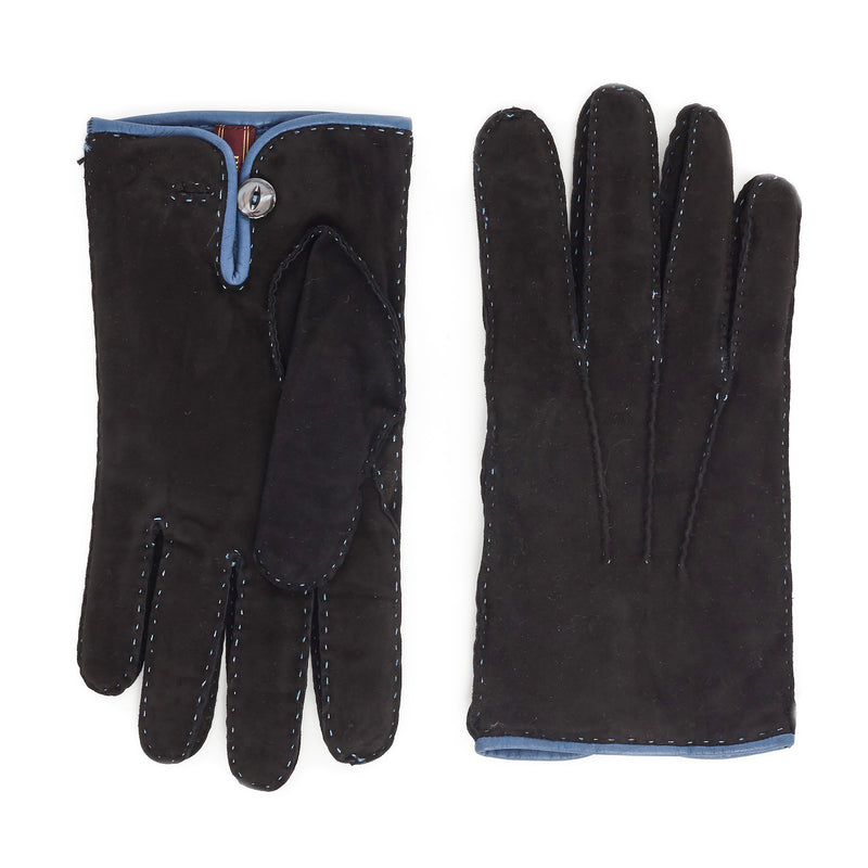 Lazio Suede Men's Winter Gloves - Black/Blue - FINAL SALE