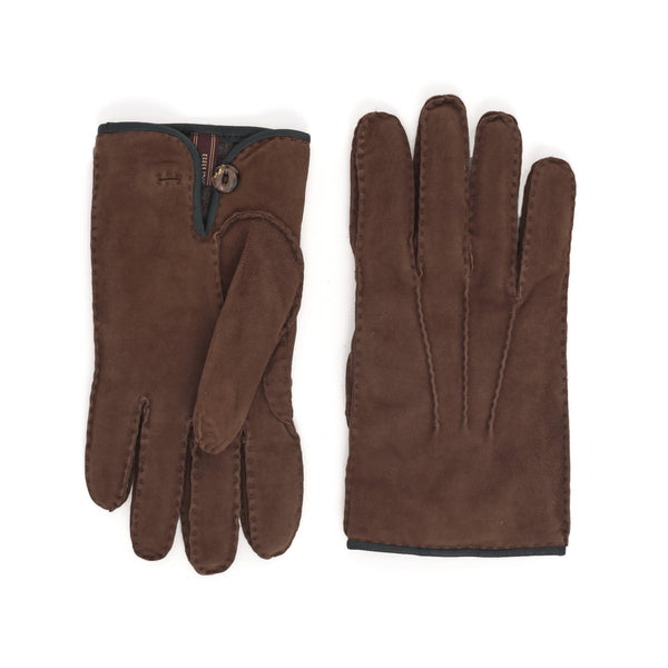 Lazio Suede Men's Winter Gloves - Cognac/Blue