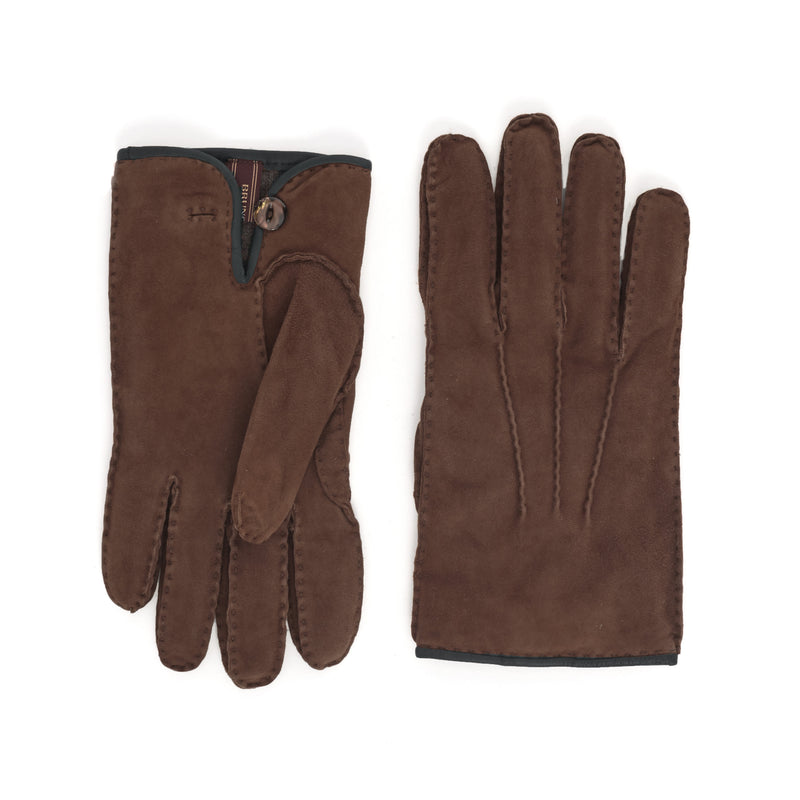 Lazio Suede Men's Winter Gloves - Cognac/Blue - FINAL SALE