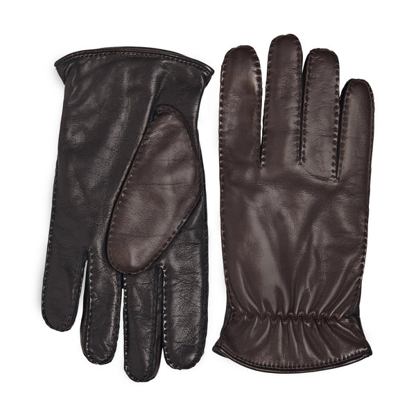 Liguria Two-Tone Leather Men's Winter Gloves - Brown/Black