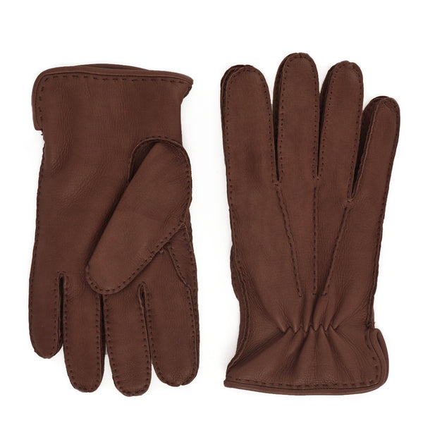 Lombardy Leather Men's Winter Gloves - Cognac/Brown