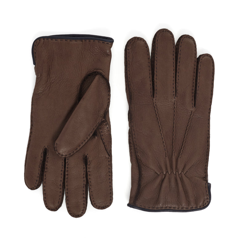 Lombardy Leather Men's Winter Gloves - Brown/Blue