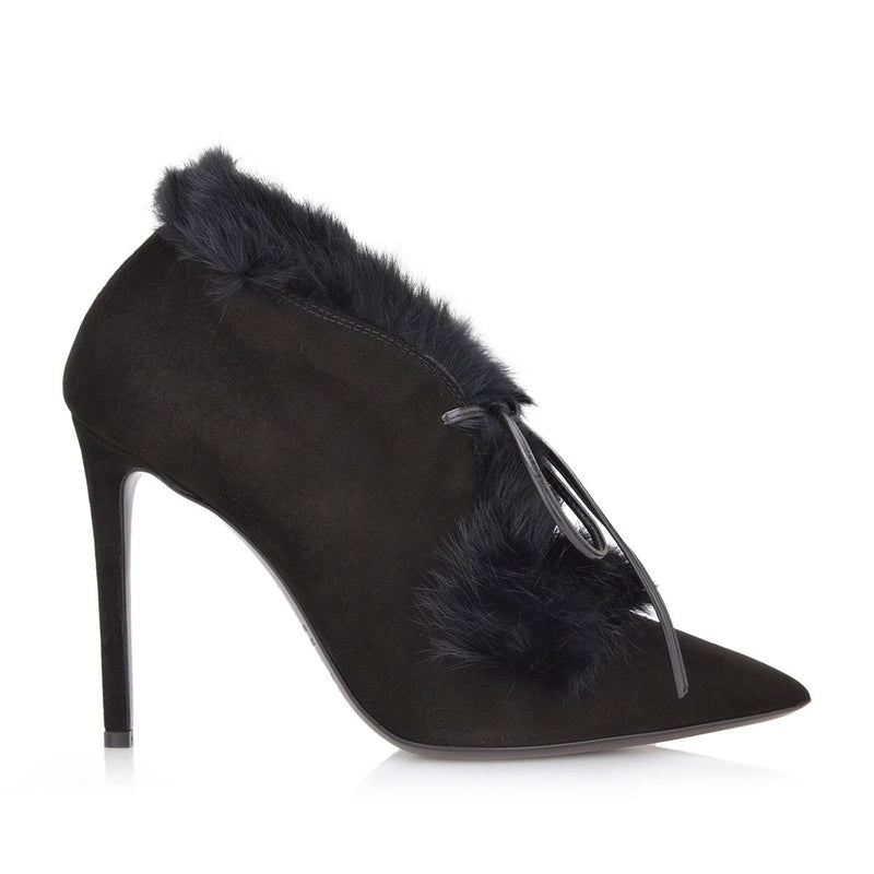 Aurora Suede/Sheepskin Pump, 4-inch - Black - FINAL SALE