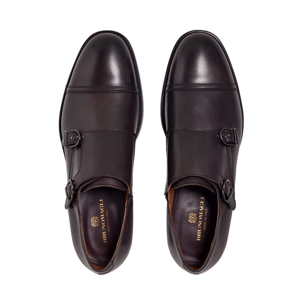 Barone Monk-Strap Shoe - Dark Brown