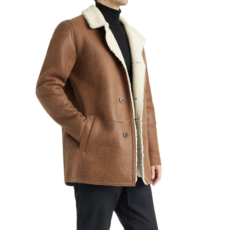 Basil Men's Spanish Merino Shearling Jacket - Chestnut Nappa